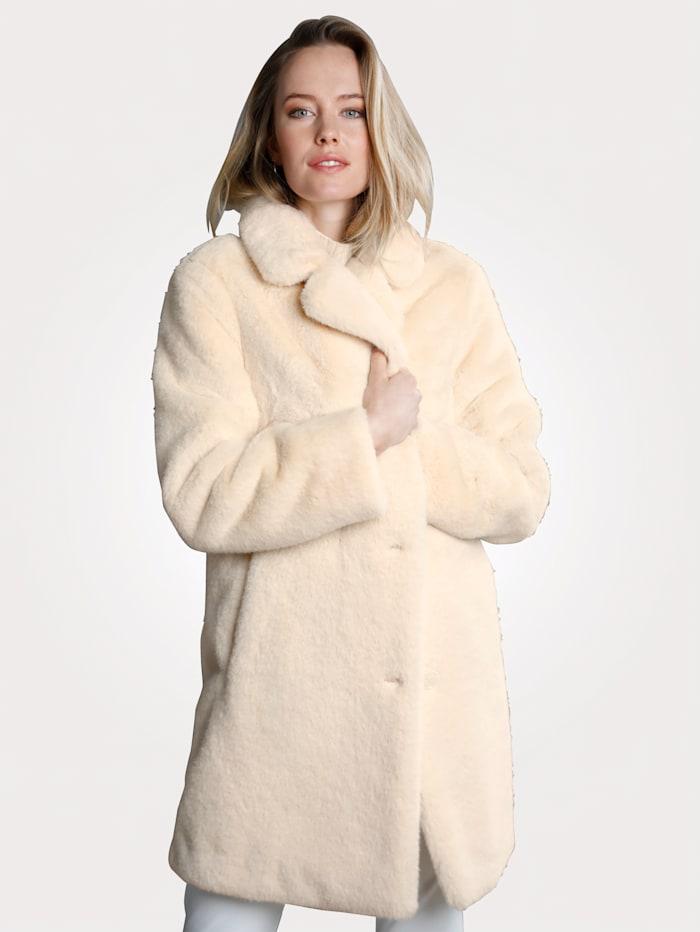 MONA Jacke aus hochwertigem Webfell, Creme-Weiß
