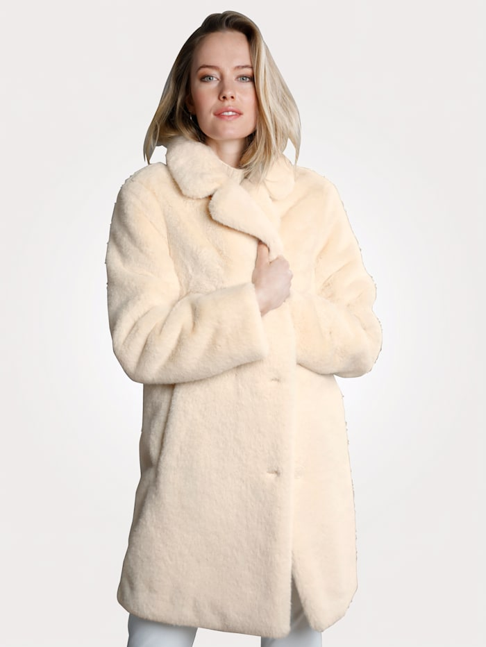MONA Manteau en fourrure synthétique haut de gamme, Crème