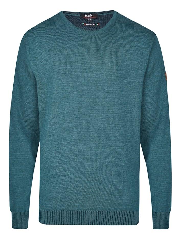 Hajo Rundhalspullover, blau-grün