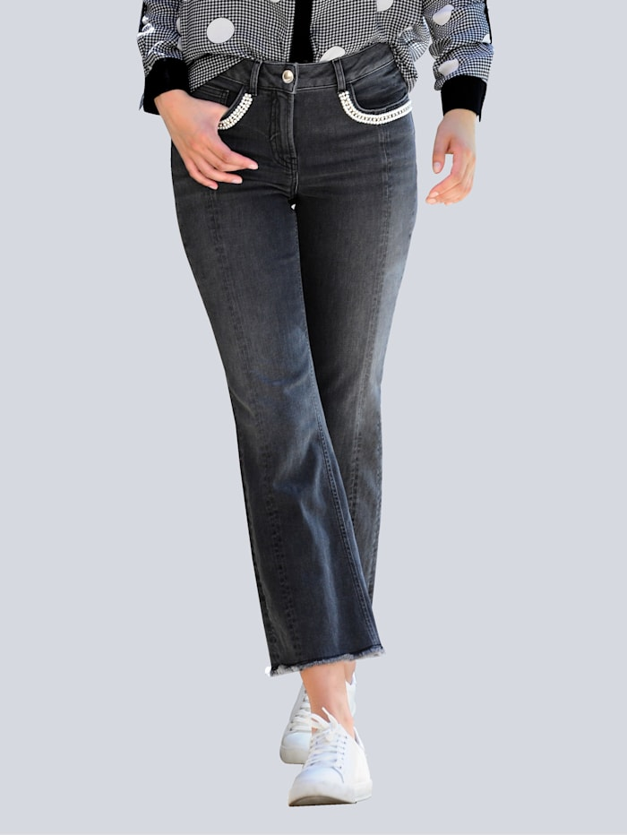 Alba Moda Jeans mit Dekoperlenband am Tascheneingriff, Schwarz