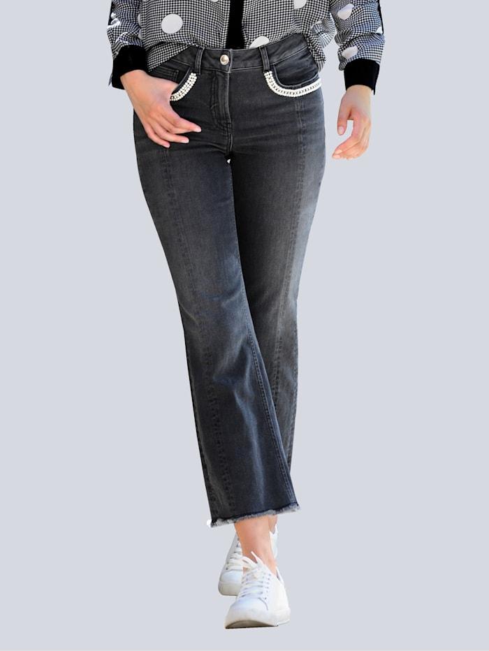 Alba Moda Jeans met band met siersteentjes op de zakken, Zwart