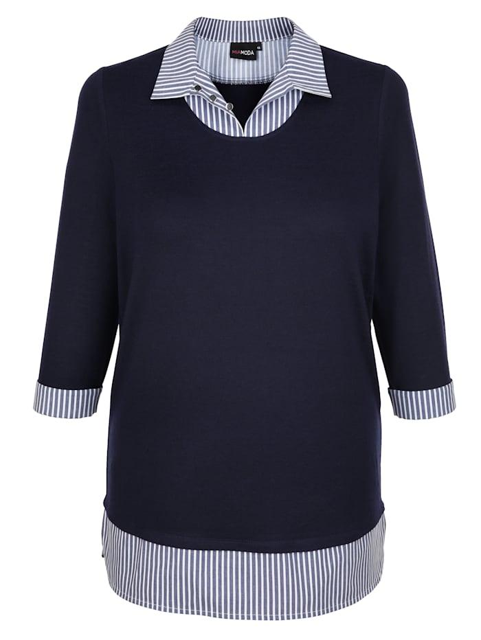 2-in-1 Shirt mit Webeinsatz am Kragen und Saum