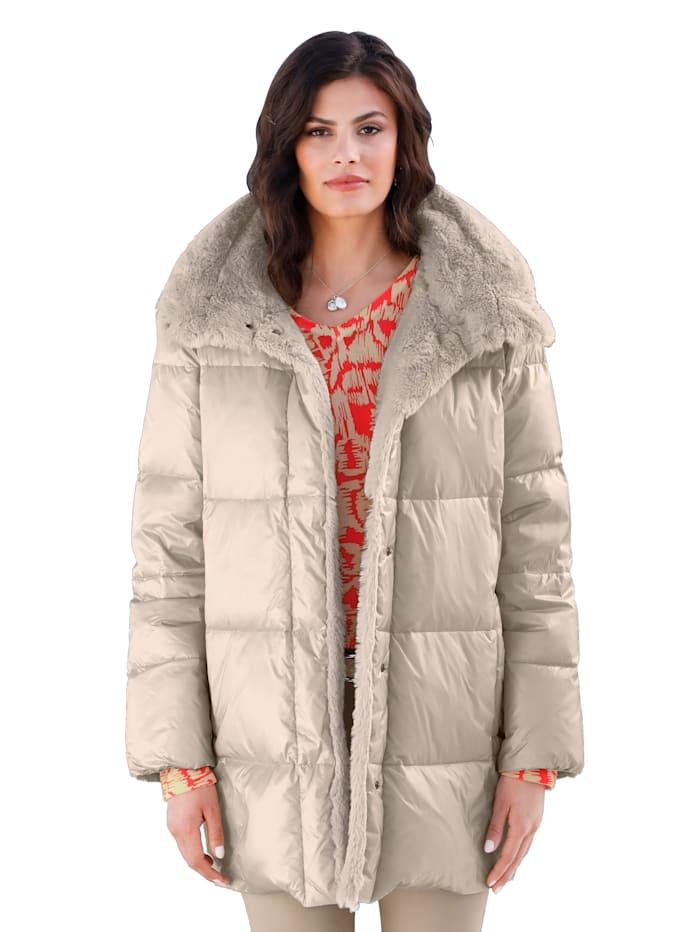 RoFa Gewatteerde jas met imitatiebont, Beige