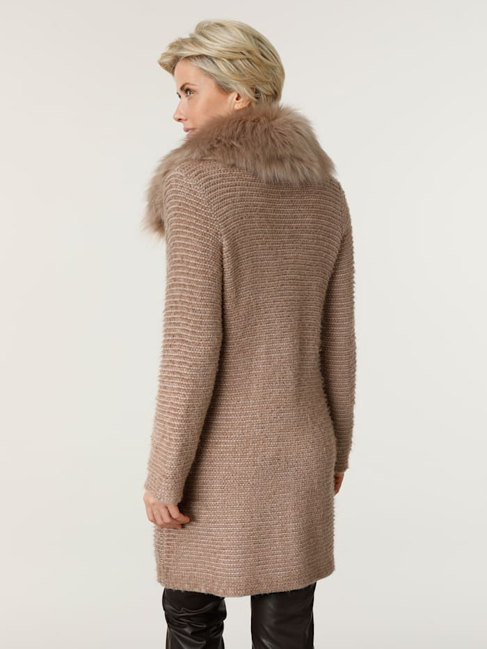 Longline cardigan with faux fur collar