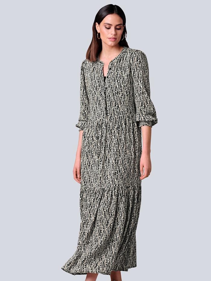 Alba Moda Kleid im Alba Moda exklusiven Dessin, Schwarz/Off-white/Beige