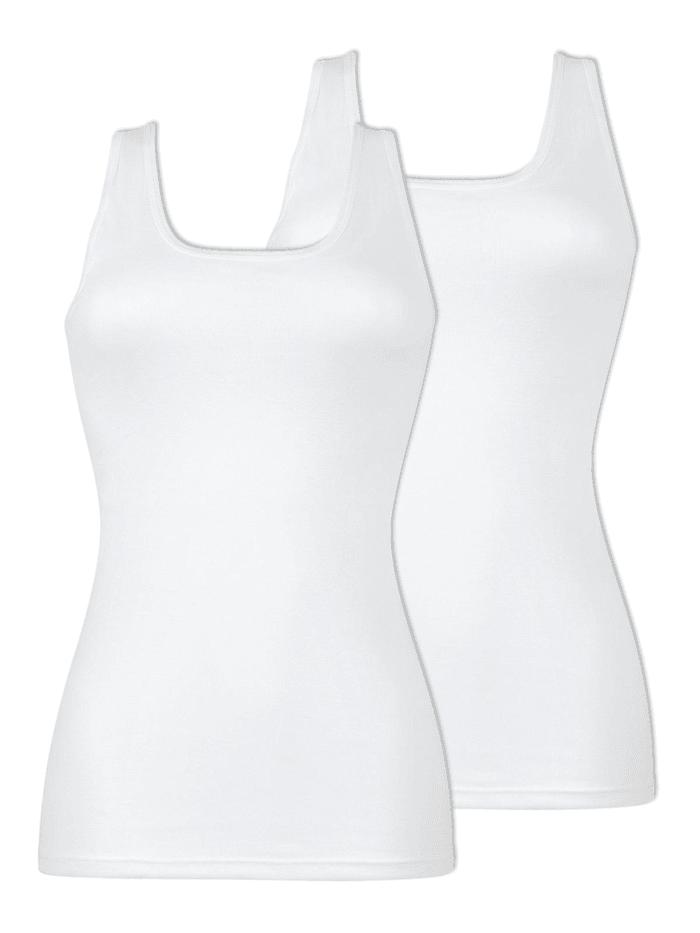 Naturana 2er Pack Damen Unterhemd, Weiss