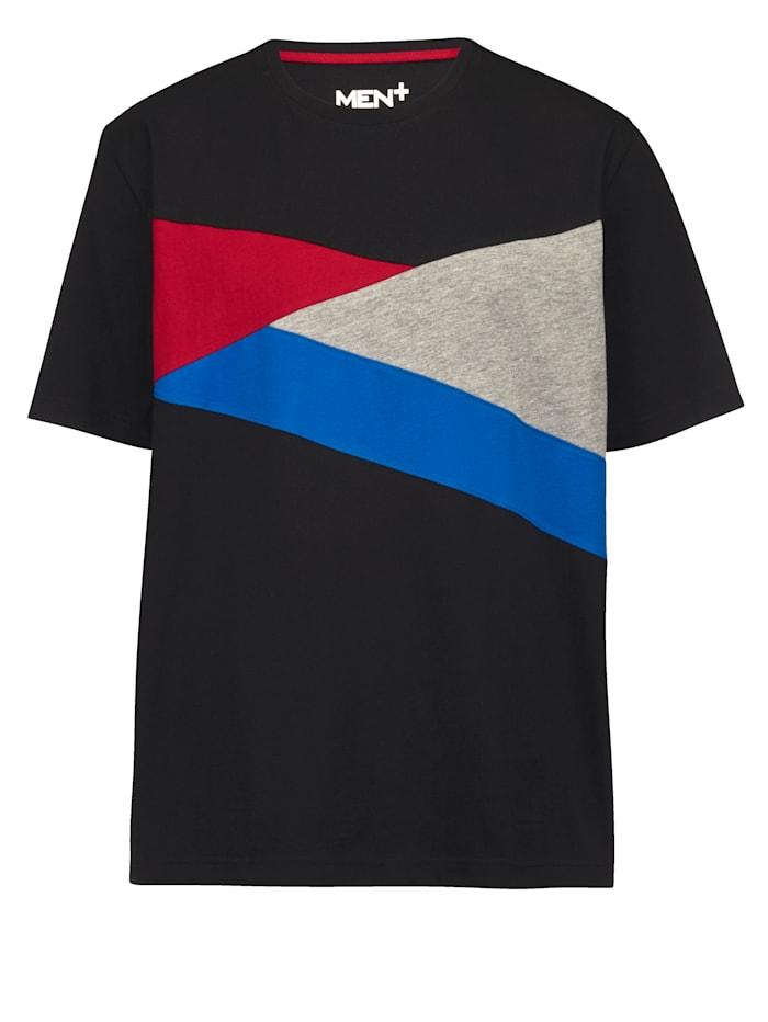 Men Plus T-Shirt im Color Blocking Design, Schwarz/Rot/Royalblau