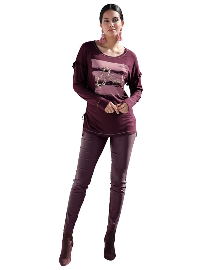 Shirt mit Rüschen, Perlenzier und Raffung