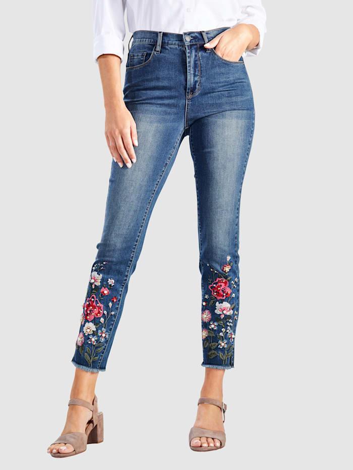 Paola 7/8 džínsy s kvetinovou výšivkou na leme, Blue bleached