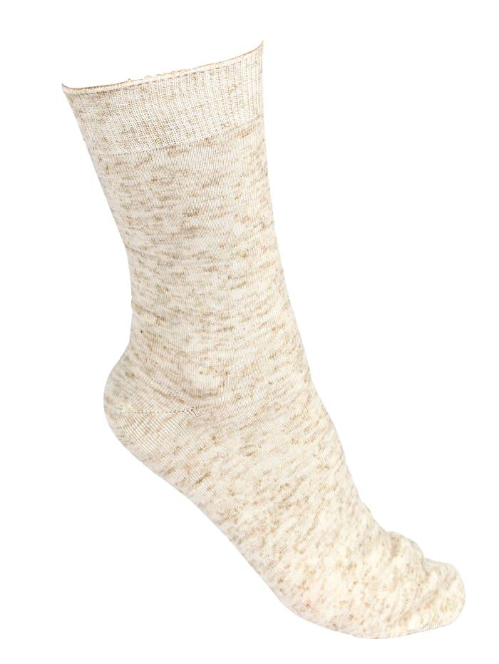 Socken mit Leinen, Beige