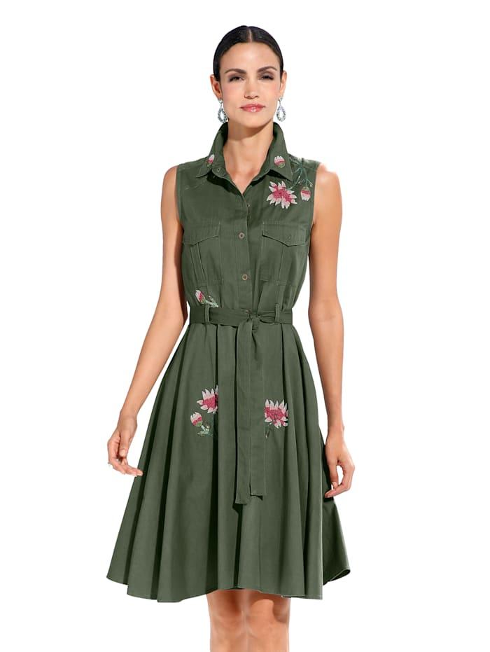 Kleid mit Perlendekoration, Khaki