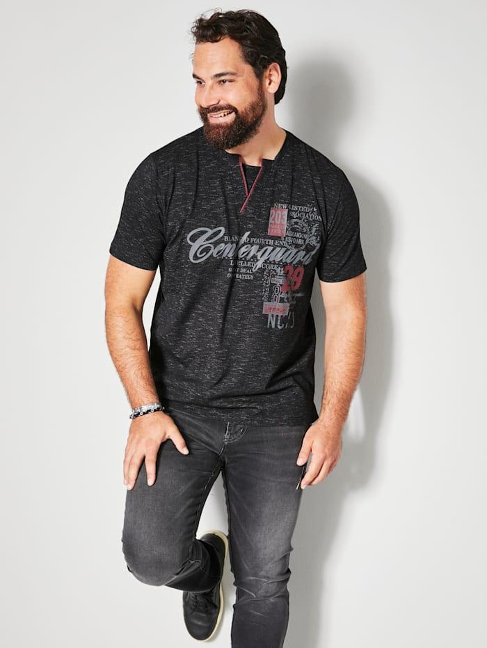 Men Plus T-Shirt in melierter Optik, Black/Weiß