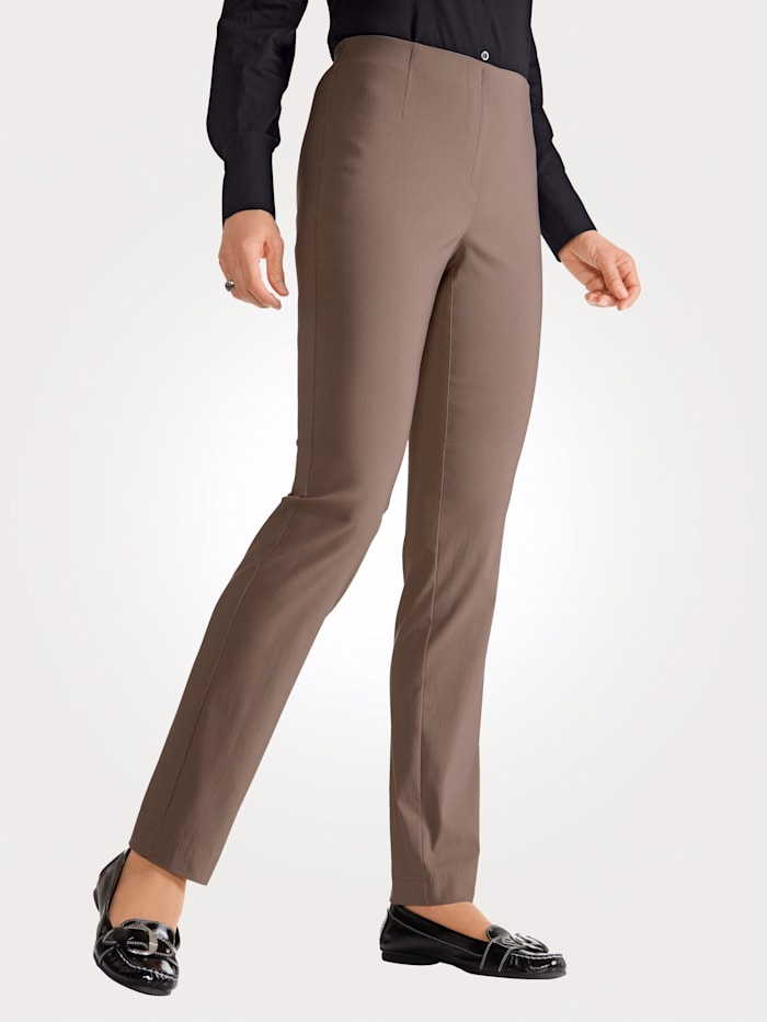 MONA Pull-on trousers made from a soft stretch fabric, Taupe