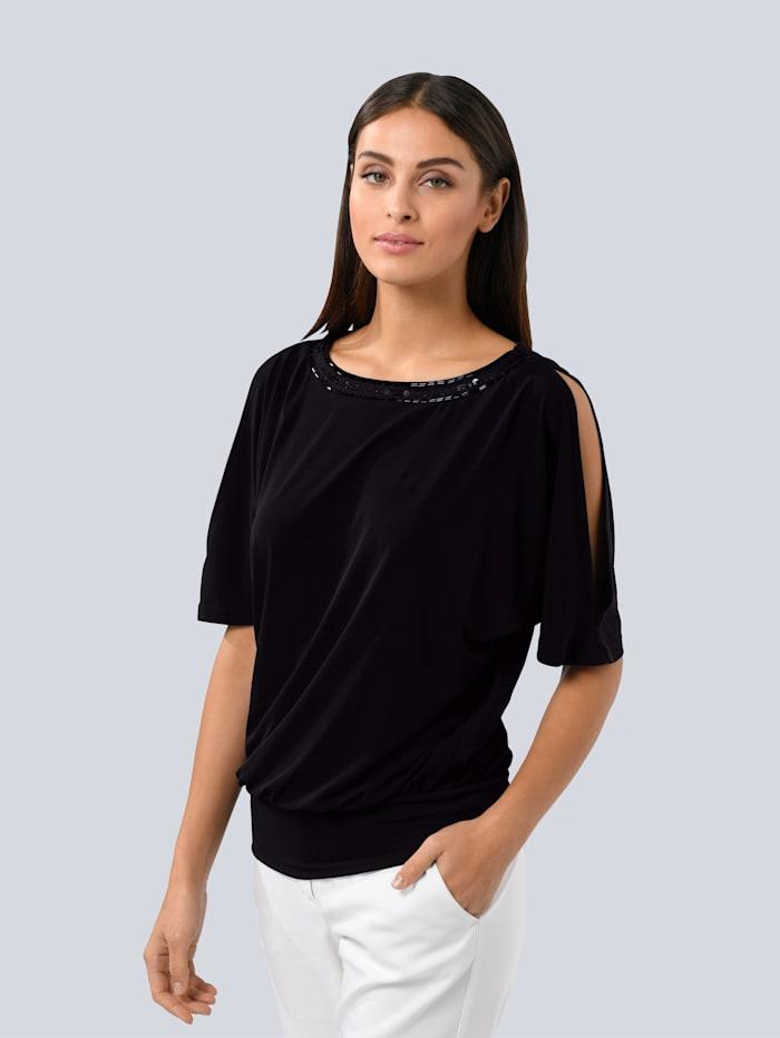 Alba Moda Shirt mit Ton-in-Ton Pailletten am Ausschnitt, Schwarz