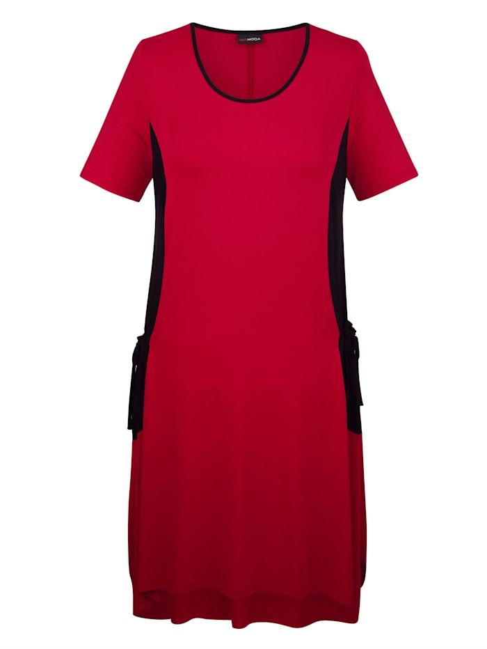 MIAMODA Jerseykleid mit modischen Taschen seitlich, Rot/Schwarz