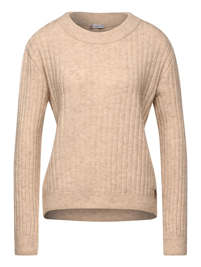 Street One Grobstrick-Pullover, almond cream melange