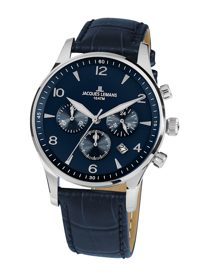 Jacques Lemans Herren-Uhr Chronograph Serie: London, Kollektion: Classic 1-1654.2ZC, Blau