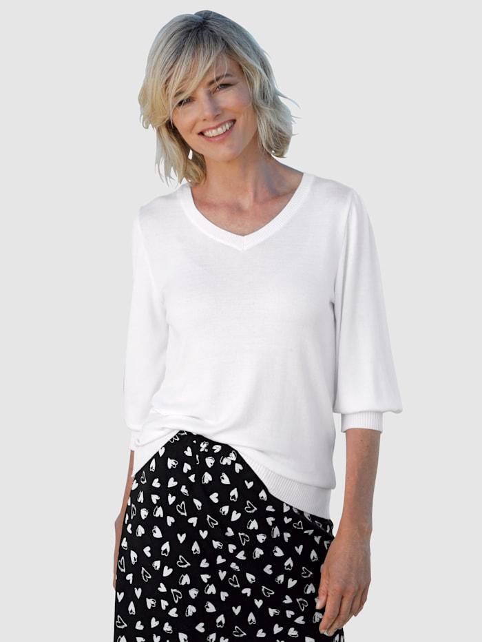 Dress In Pullover mit kleinen Puffärmeln, Weiß