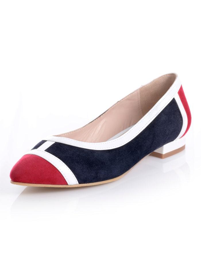 Alba Moda Ballerina in mehrfarbiger Ausführung, Marineblau/Rot