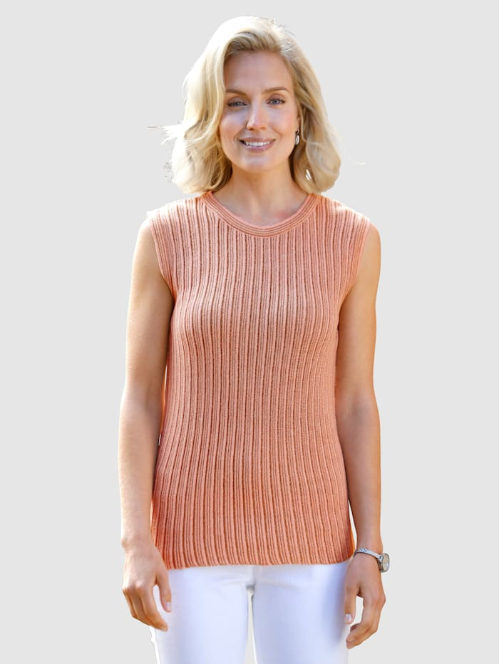 Paola Top in Streifendessin, Cognac/Apricot
