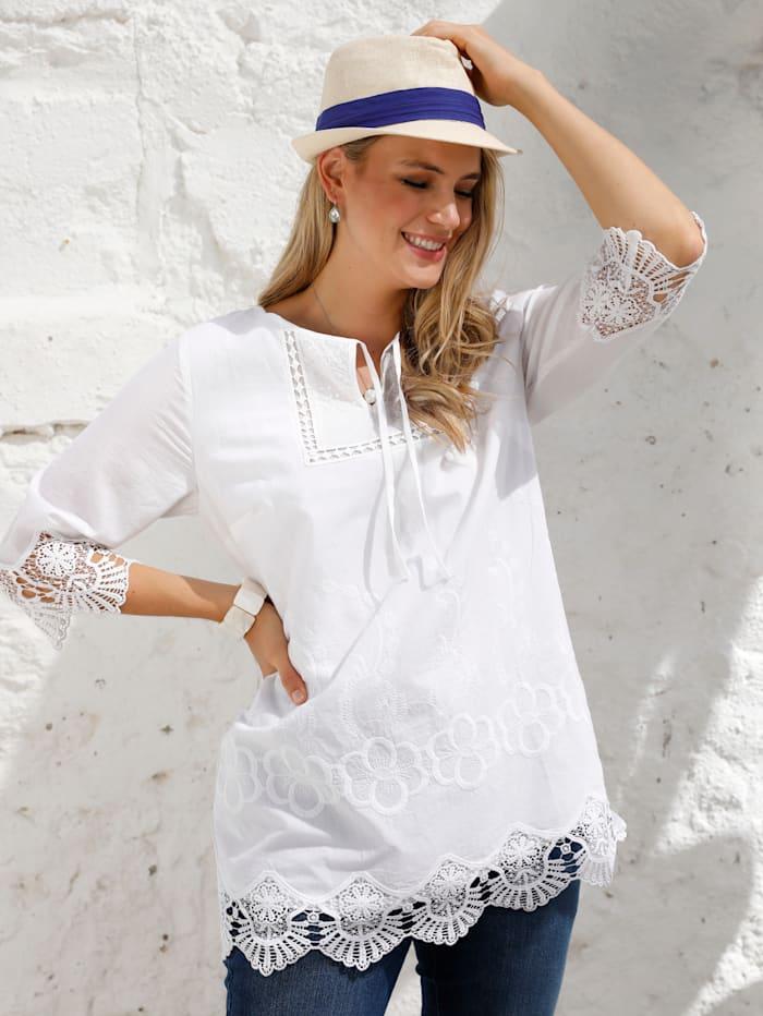 MIAMODA Tunique avec détails en dentelle, Blanc