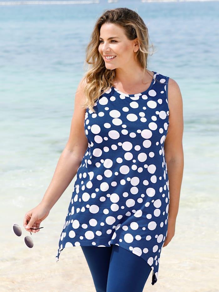 Maritim Strandshirt im angesagten Zipfel-Look, Marineblau/Weiß