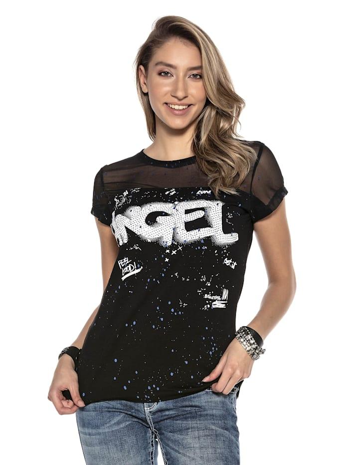 Cipo & Baxx T-Shirt mit Netzstoff und Pailletten, Schwarz