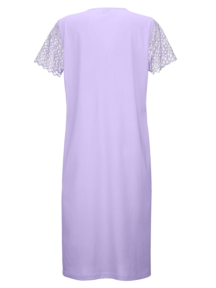 Nightdress with embroidered yoke and sleeves