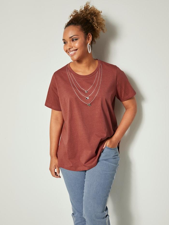 Angel of Style Shirt aus reiner Baumwolle, Terracotta/Silberfarben