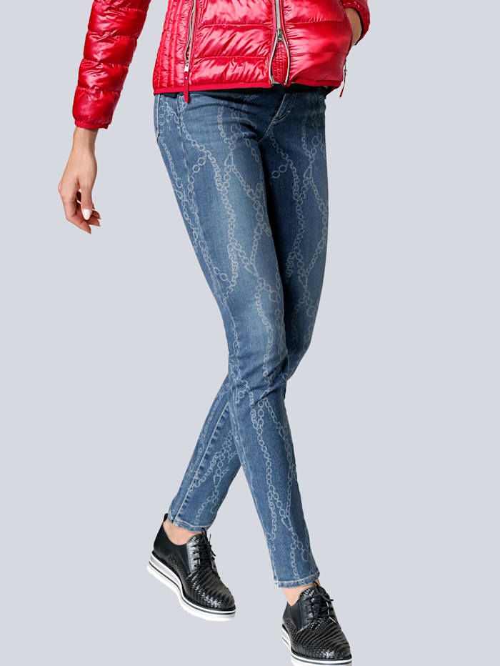 BRAX Jeans im angesagten Kettendruck allover, Blau