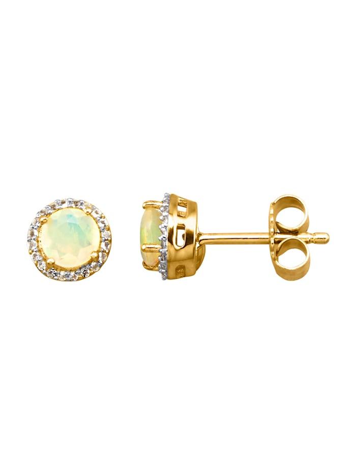 Örhängen med opal och vita topaser, Vit