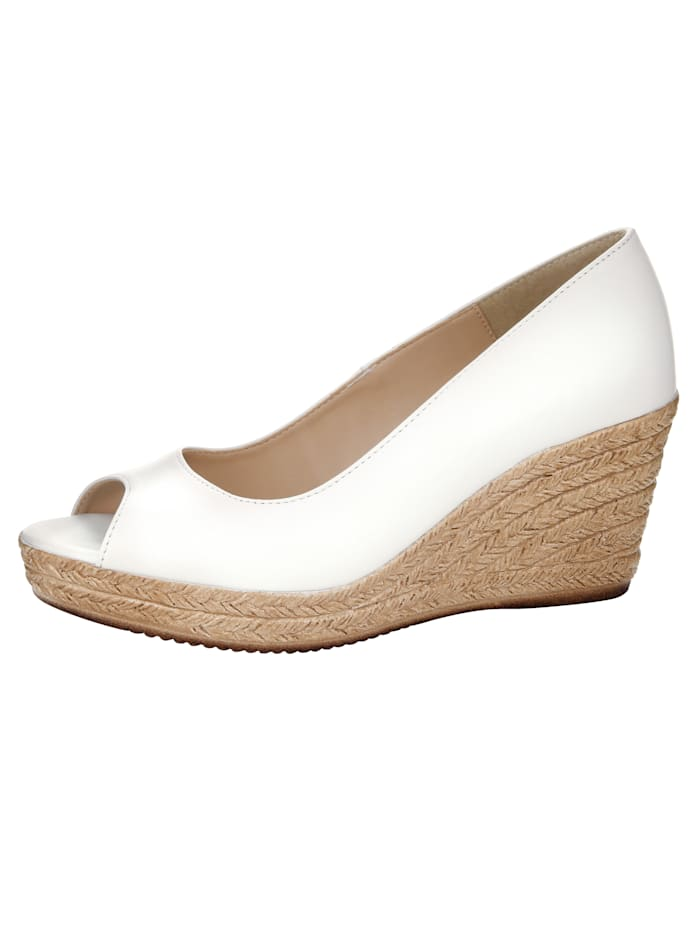 Peep toe Wedge court shoes made of high-quality napa leather, White