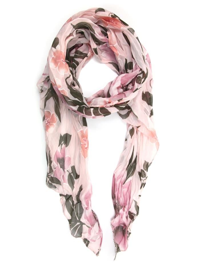 Collezione Alessandro Italienischer Schal Veerle mit floralem Muster, rose