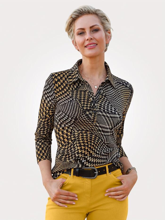 Barbara Lebek Poloshirt in Jersey-Qualität, Braun/Gelb