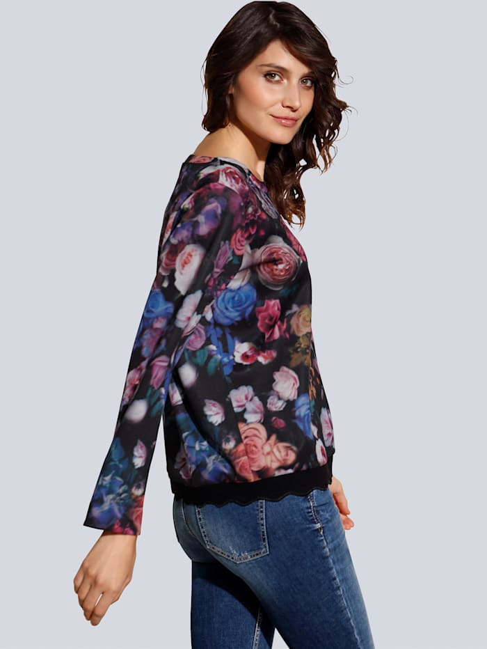 Sweatshirt im farbintensivem Blumenprint