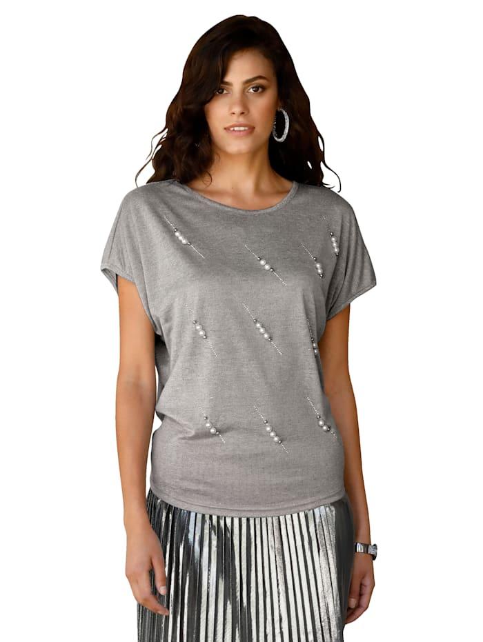 AMY VERMONT Shirt mit Perlen, Grau