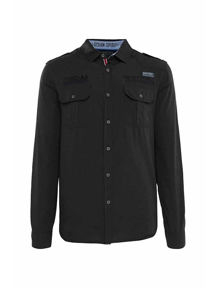 Camp David Hemd mit Taschen, Artworks und Schulterriegeln, black