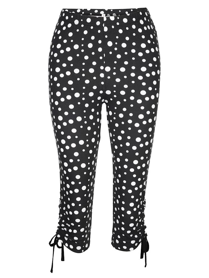 Maritim Legging mit raffbarem Bindeband am Beinabschluss, Schwarz/Weiß