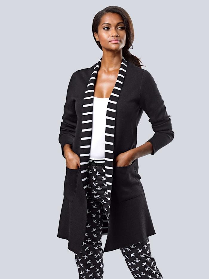 Alba Moda Vest met gestreepte binnenkant, Zwart/Wit