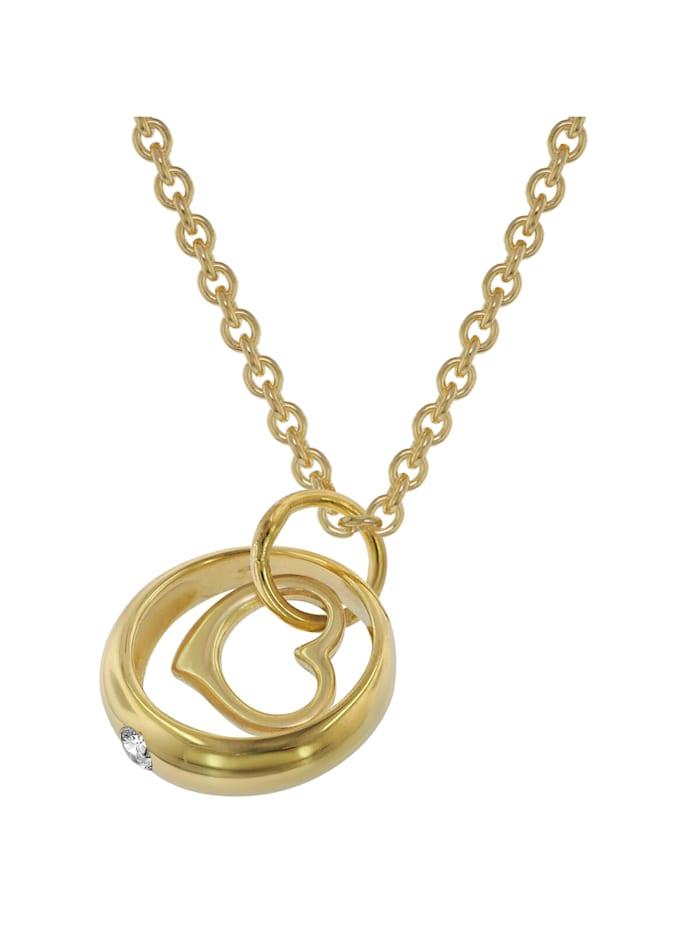 trendor Halskette mit Herz-Taufring Gold auf Silber, Goldfarben