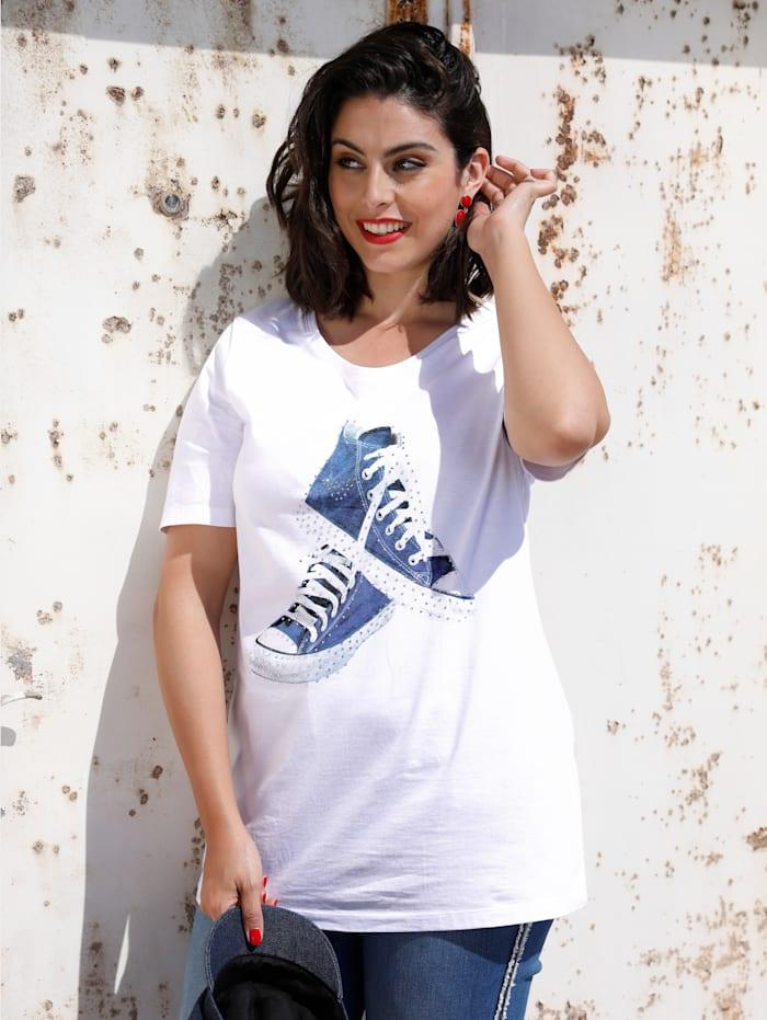 MIAMODA Shirt mit Sneaker-Motiv, Weiß