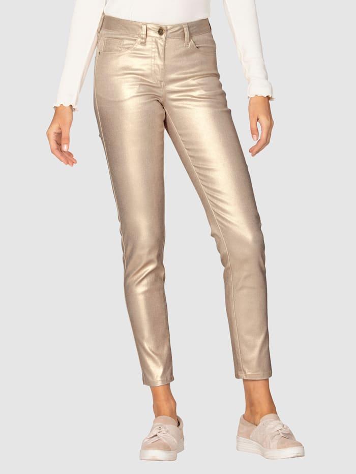 AMY VERMONT Kalhoty v metalickém vzhledu, Barva růžového zlata