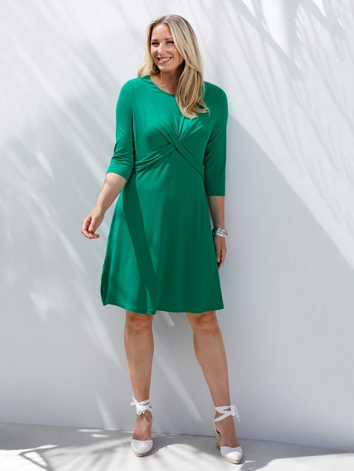 MIAMODA Kleid mit femininer Drapierung im Vorderteil, Grün