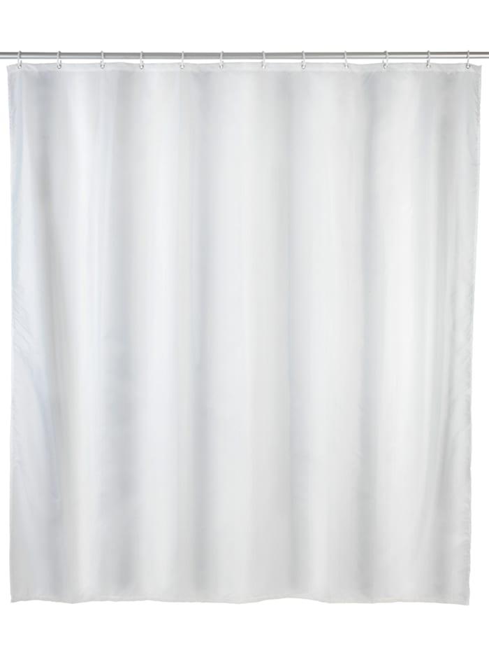 Wenko Anti-Schimmel Duschvorhang Uni White, Textil (Polyester), 180 x 200 cm, waschbar, Weiß