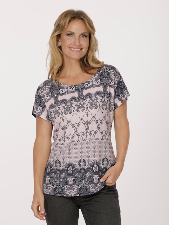 MONA Shirt mit Ornamente-Druck, Rosé/Grau