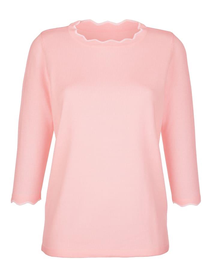 Pullover mit kontrastfarbener Bogenkante