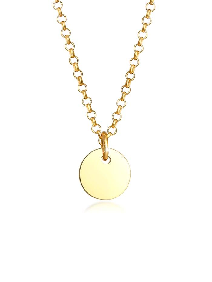 Elli Halskette Kinder Plättchen Kreis Coin Erbskette 925 Silber, Gold