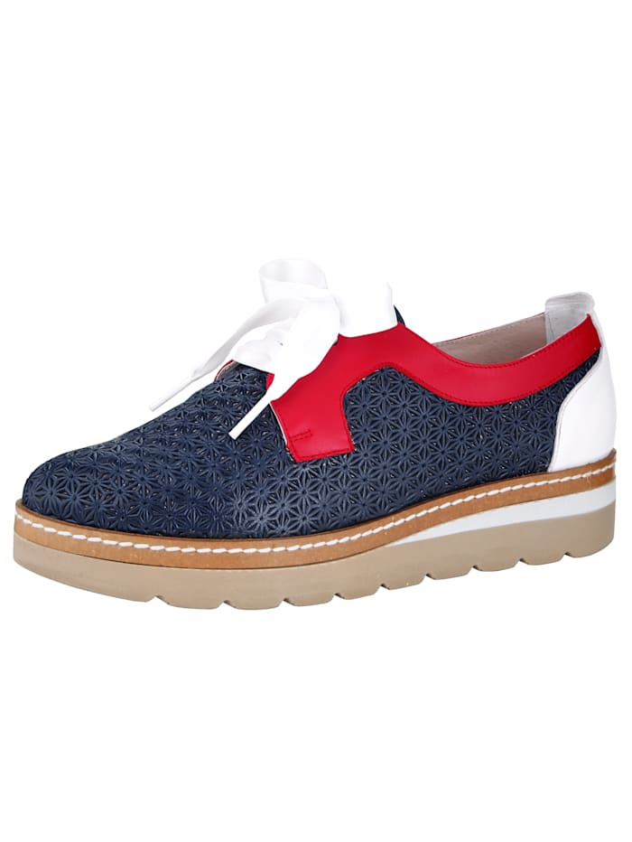 Lace-up shoes made from embossed Nappa leather, Navy/White/Red