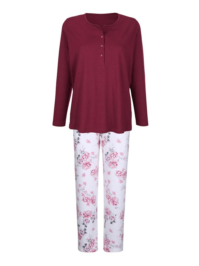 Comtessa Schlafanzug mit dekorativer Knopfleiste, Bordeaux/Silbergrau