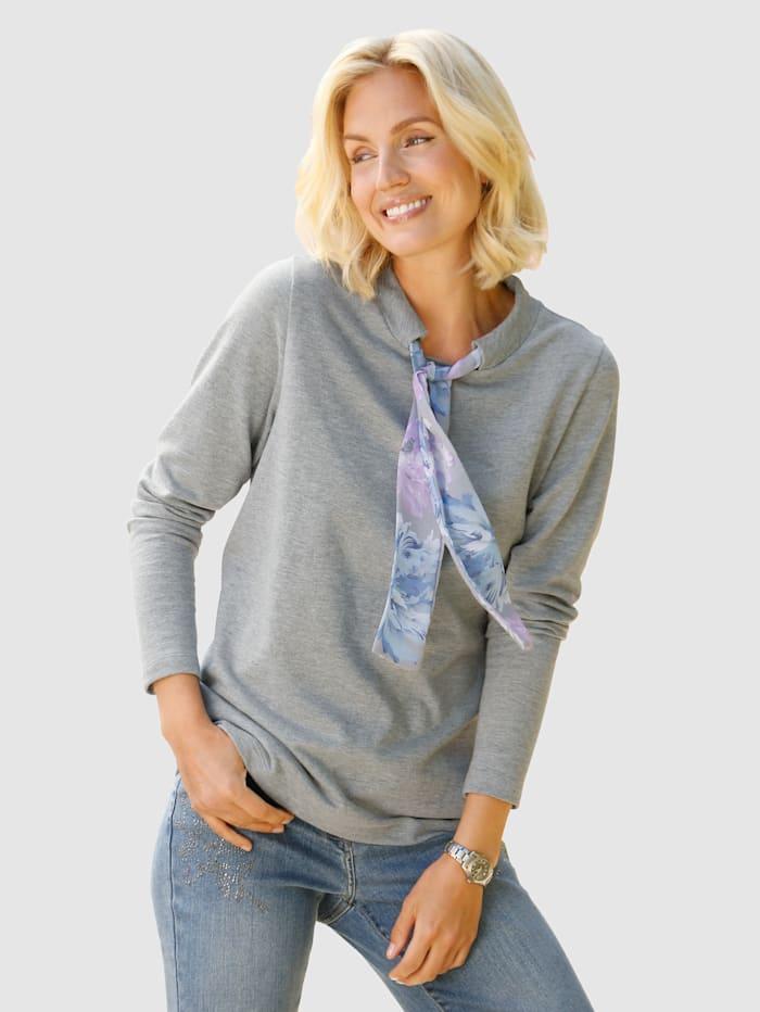 Paola Sweat-shirt avec large bande à nouer imprimée, Gris